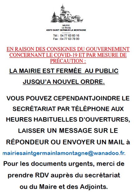 Fermeture Exceptionnelle Mairie Covid19